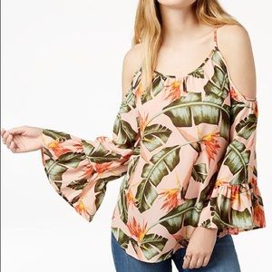 Tropical Print Off Shoulder Top by Seven Sisters L